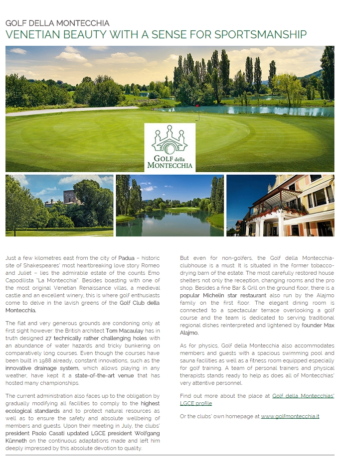ba8105ffcbf1e654523b3092c0b2fd33 LEADING NEWS COURSE LGCE September 2014 - Golf Club Frassanelle